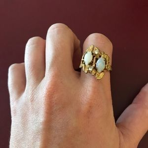 Vintage gold filled opal statement cocktail ring